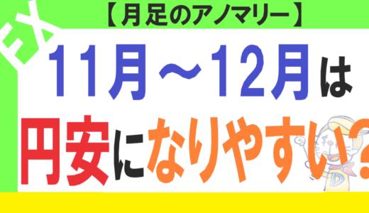 11月~12月は円安になりやすい?11月のFX月足アノマリーを紹介します!