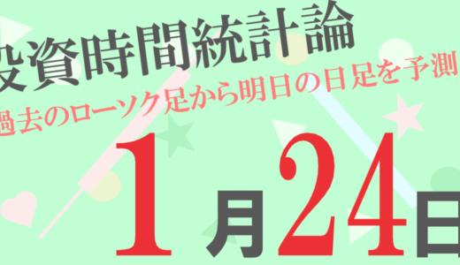 【為替時間統計論(日足)】1月24日の予報は全20通貨ペア中、最高陽線確率が73%、最高陰線確率が73%となっています!