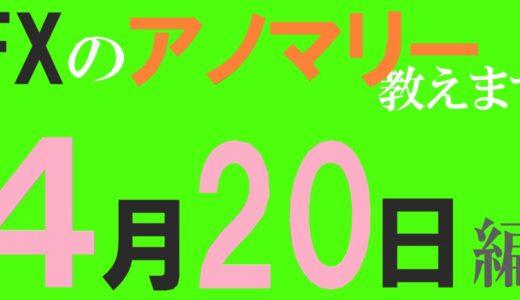 【FX】4月20日の為替相場アノマリーを紹介します!陽線傾向:ドル/円⇒77%